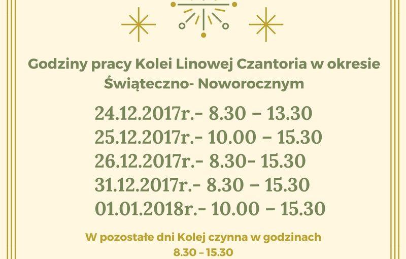 Godziny pracy Kolei Linowej Czantoria w okresie Świąteczno- Noworocznym