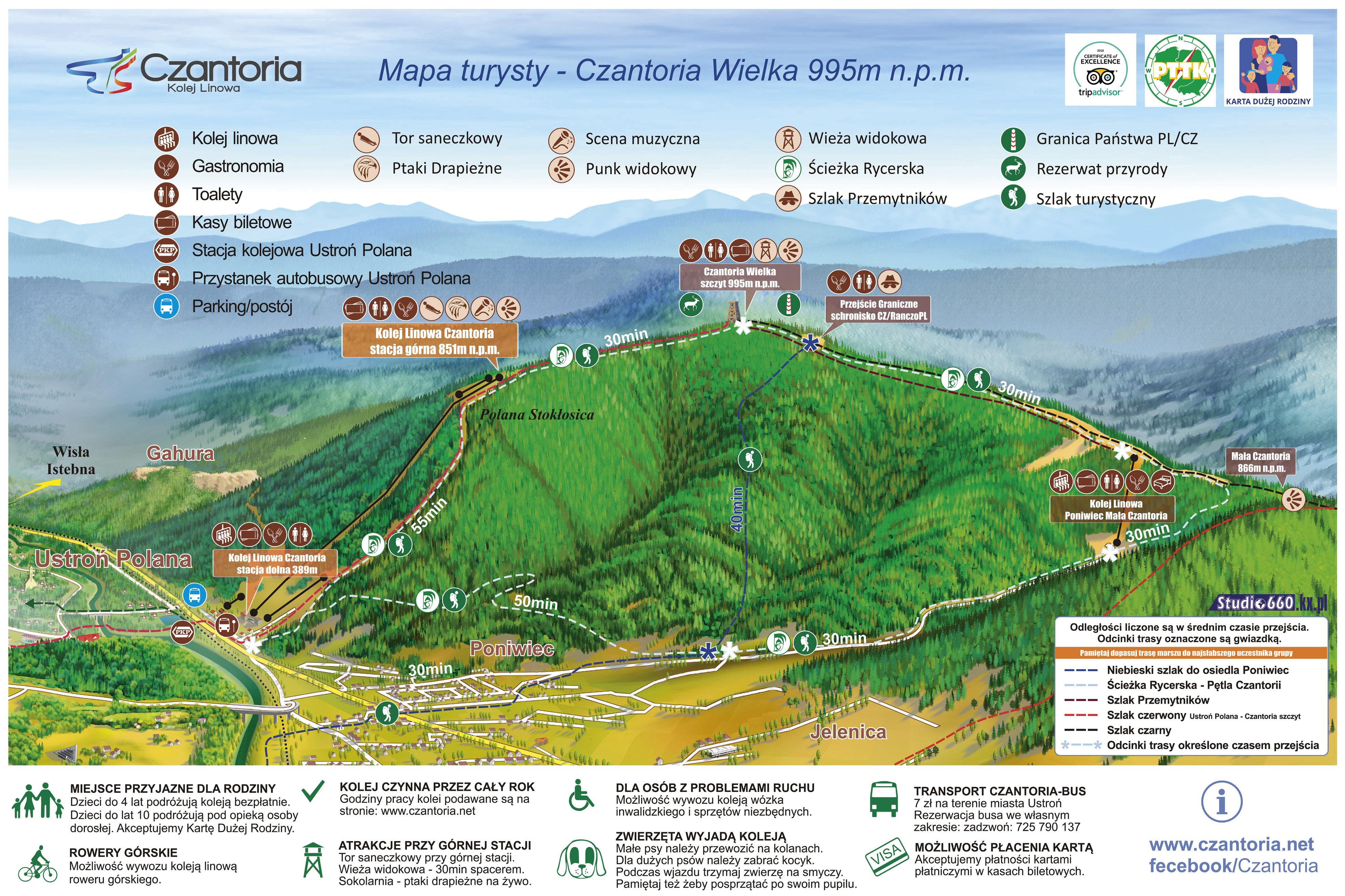 Szlak turystyczny – Ustroń Zdrój – Wielka Czantoria